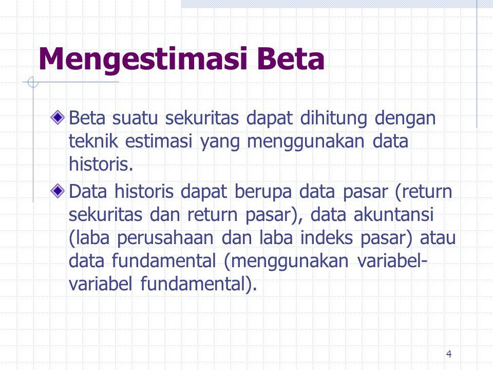 Mengestimasi Beta Beta suatu sekuritas dapat dihitung dengan teknik estimasi yang menggunakan data historis.
