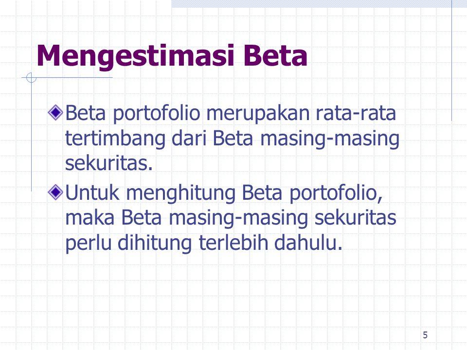 Mengestimasi Beta Beta portofolio merupakan rata-rata tertimbang dari Beta masing-masing sekuritas.