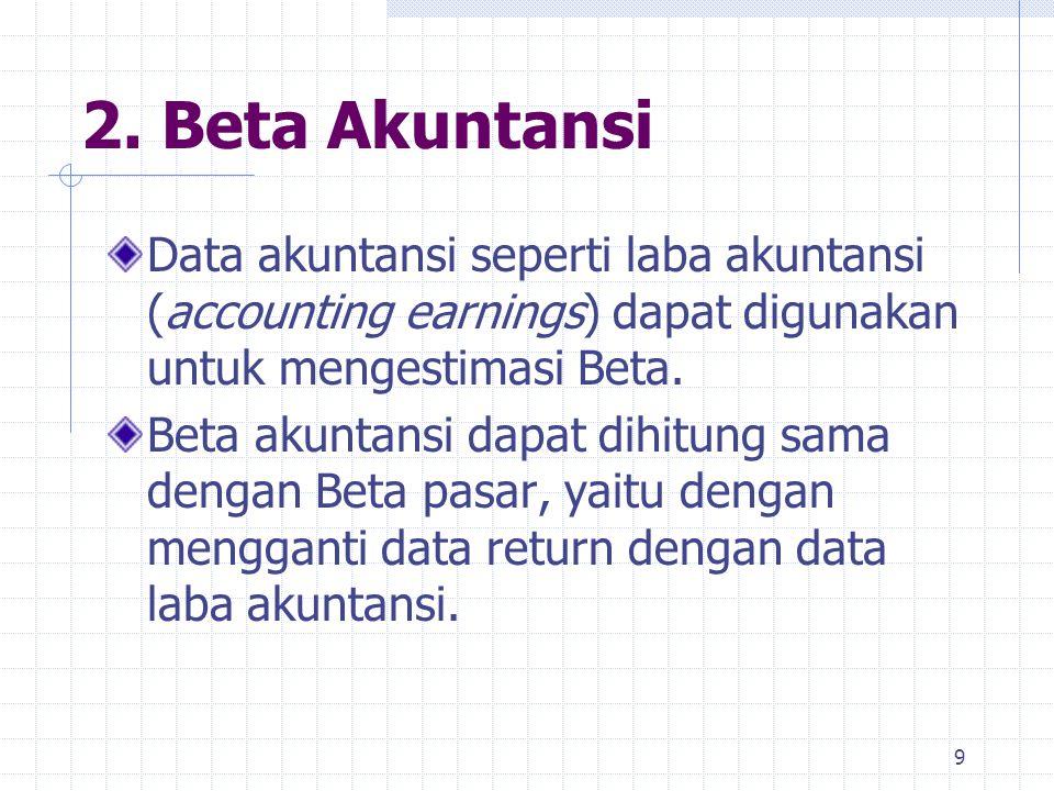 2. Beta Akuntansi Data akuntansi seperti laba akuntansi (accounting earnings) dapat digunakan untuk mengestimasi Beta.