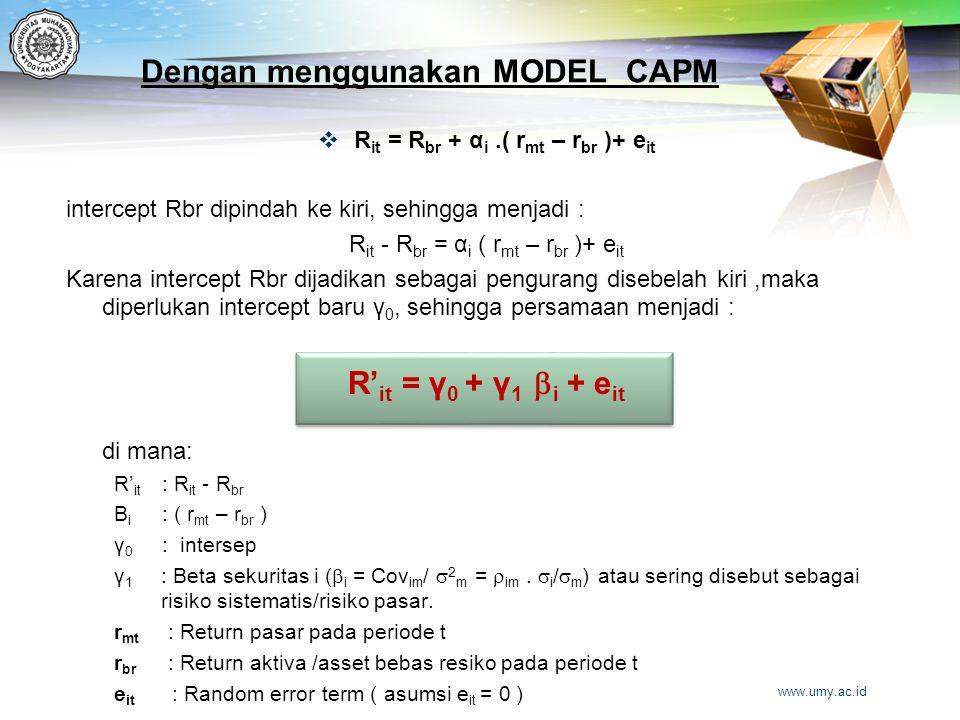 Dengan menggunakan MODEL CAPM