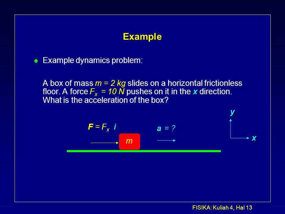 Example Example dynamics problem: