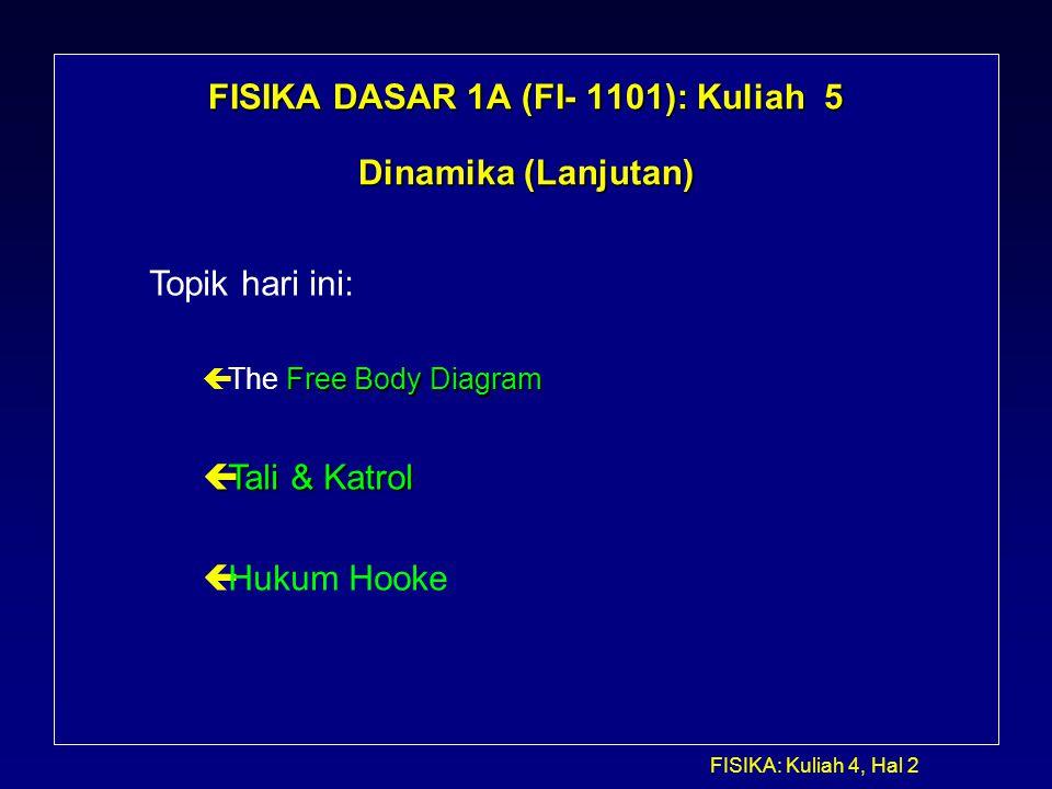 FISIKA DASAR 1A (FI- 1101): Kuliah 5 Dinamika (Lanjutan)