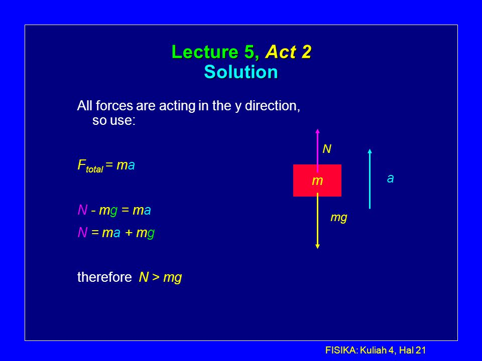Lecture 5, Act 2 Solution All forces are acting in the y direction, so use: Ftotal = ma. N - mg = ma.
