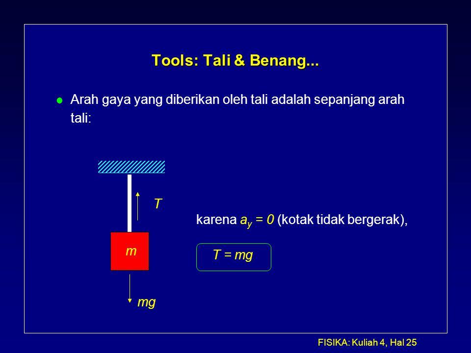 Tools: Tali & Benang... Arah gaya yang diberikan oleh tali adalah sepanjang arah. tali: T. karena ay = 0 (kotak tidak bergerak),