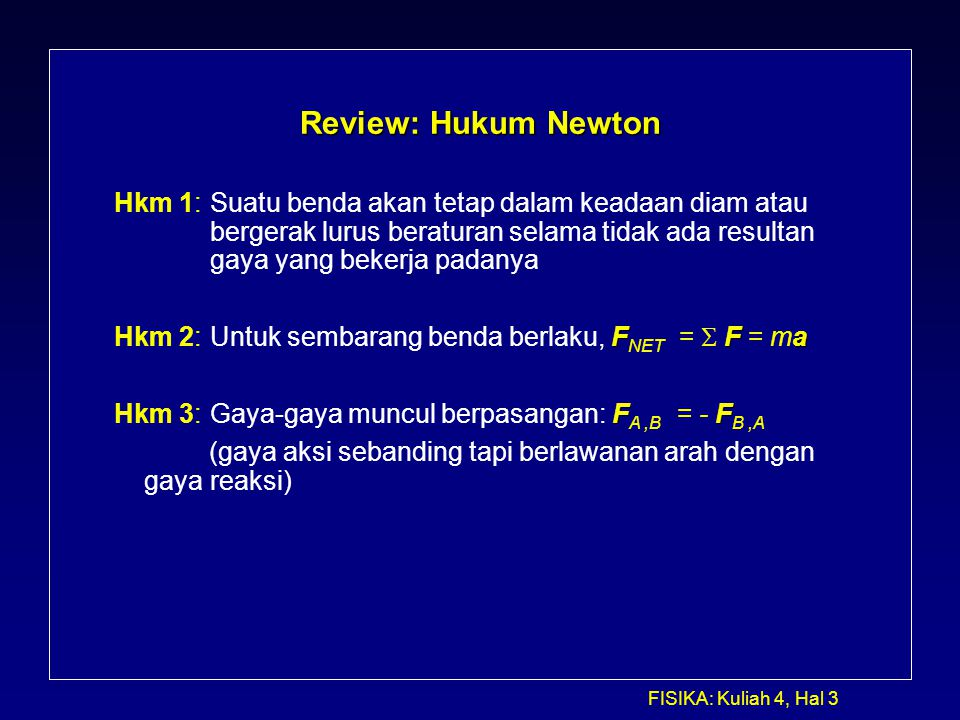 Review: Hukum Newton