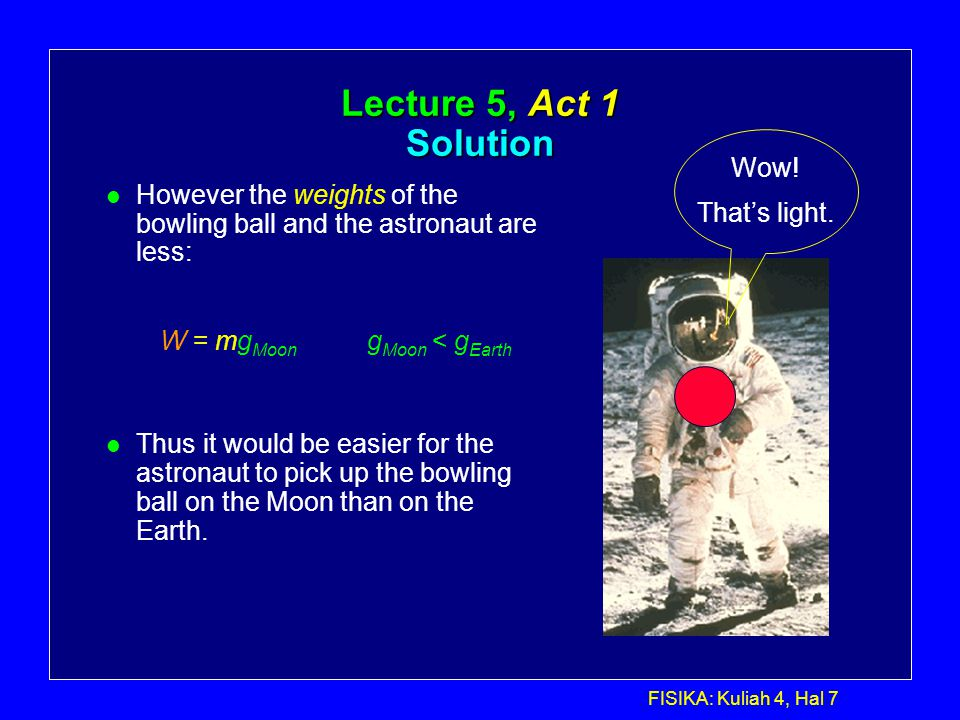 Lecture 5, Act 1 Solution Wow! That's light.