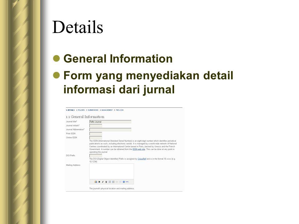 Details General Information