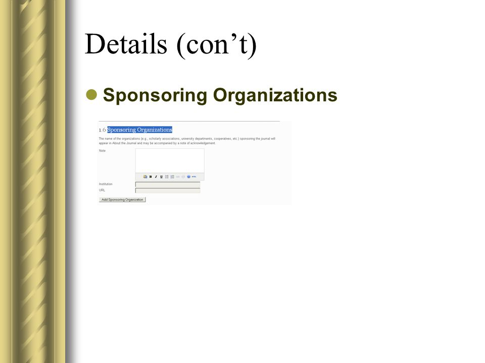 Details (con't) Sponsoring Organizations