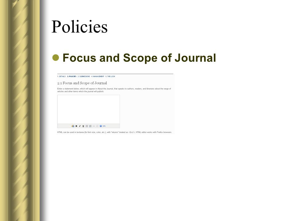 Policies Focus and Scope of Journal