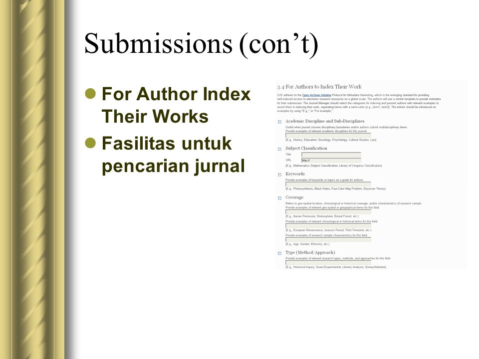 Submissions (con't) For Author Index Their Works