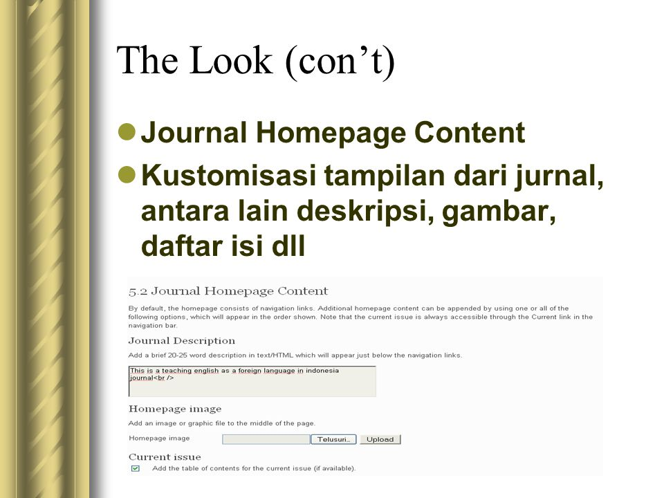 The Look (con't) Journal Homepage Content