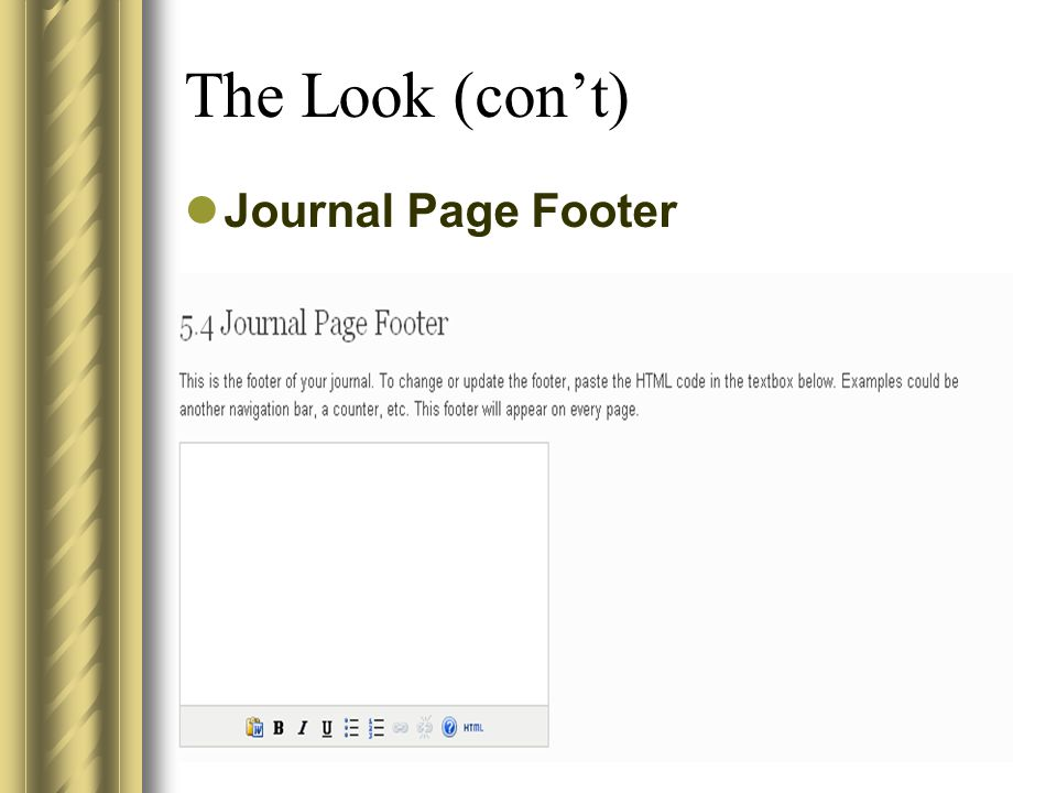 The Look (con't) Journal Page Footer