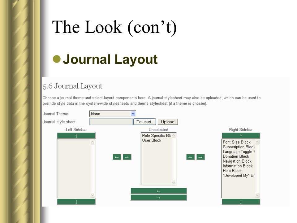 The Look (con't) Journal Layout