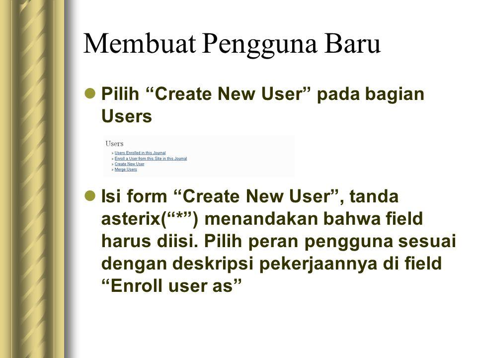 Membuat Pengguna Baru Pilih Create New User pada bagian Users