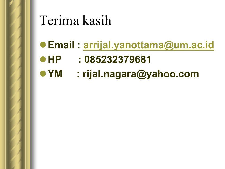 Terima kasih Email : arrijal.yanottama@um.ac.id HP : 085232379681