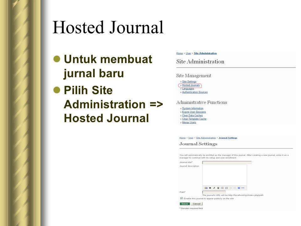 Hosted Journal Untuk membuat jurnal baru