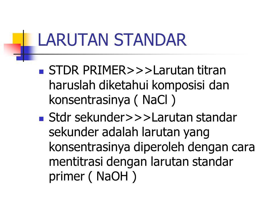 LARUTAN STANDAR STDR PRIMER>>>Larutan titran haruslah diketahui komposisi dan konsentrasinya ( NaCl )