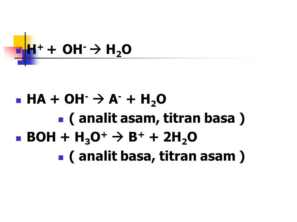 ( analit asam, titran basa ) BOH + H3O+  B+ + 2H2O