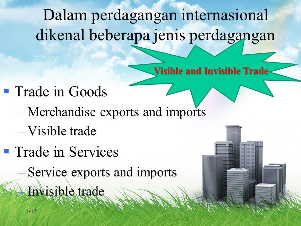 Dalam perdagangan internasional dikenal beberapa jenis perdagangan