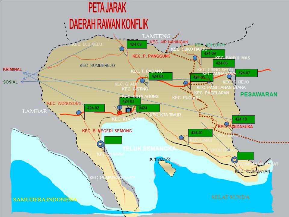 PETA JARAK DAERAH RAWAN KONFLIK LAMTENG 04/TLP PESAWARAN 0424 LAMBAR