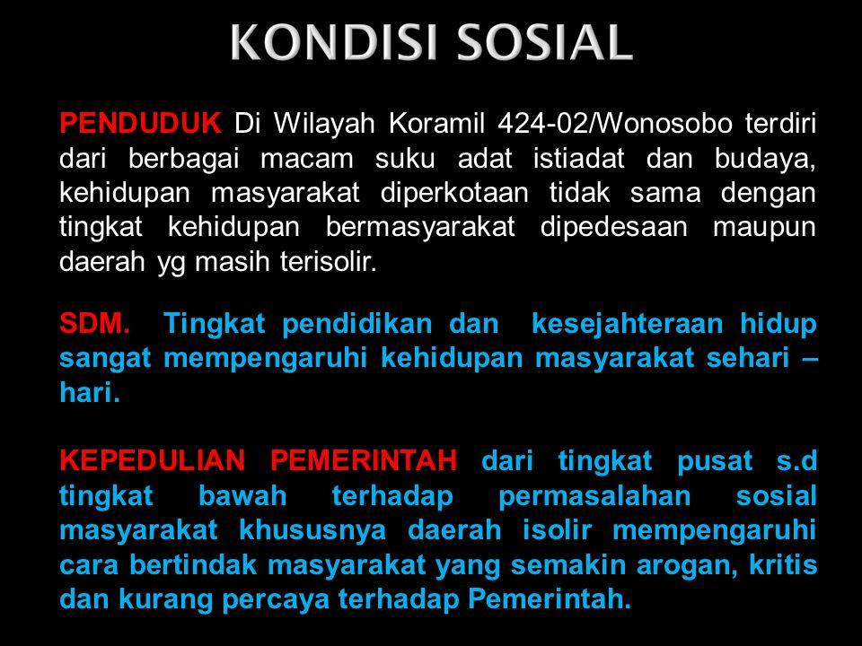 PENDUDUK Di Wilayah Koramil 424-02/Wonosobo terdiri dari berbagai macam suku adat istiadat dan budaya, kehidupan masyarakat diperkotaan tidak sama dengan tingkat kehidupan bermasyarakat dipedesaan maupun daerah yg masih terisolir.