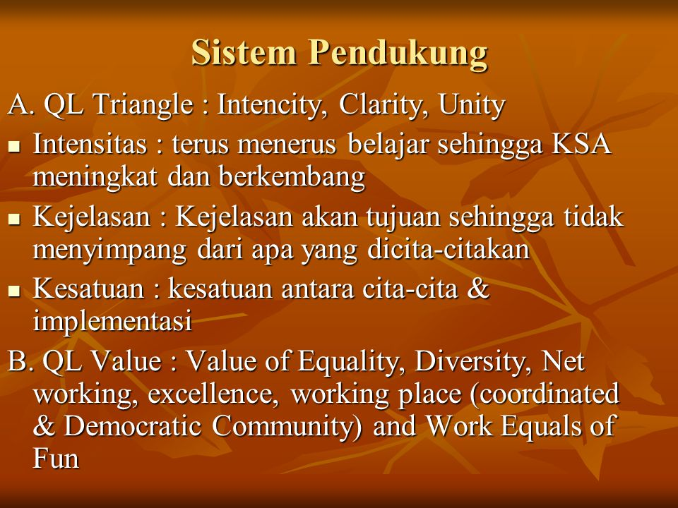 Sistem Pendukung A. QL Triangle : Intencity, Clarity, Unity