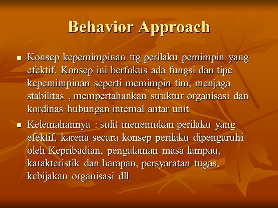 Behavior Approach