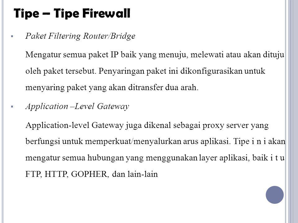 Tipe – Tipe Firewall Paket Filtering Router/Bridge