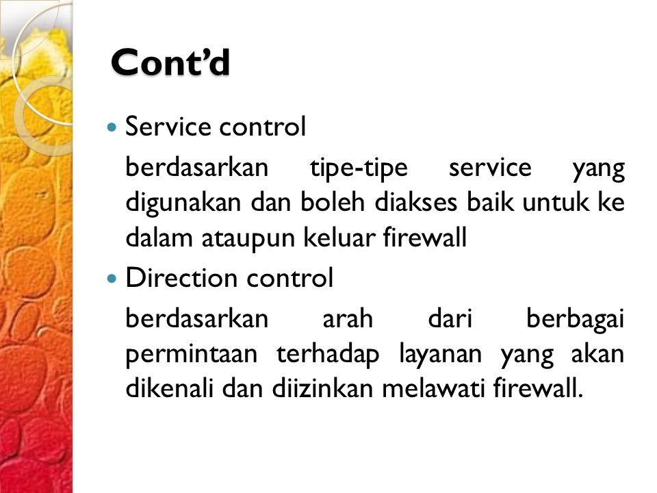 Cont'd Service control