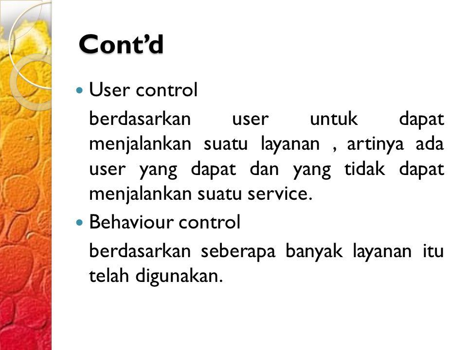 Cont'd User control.