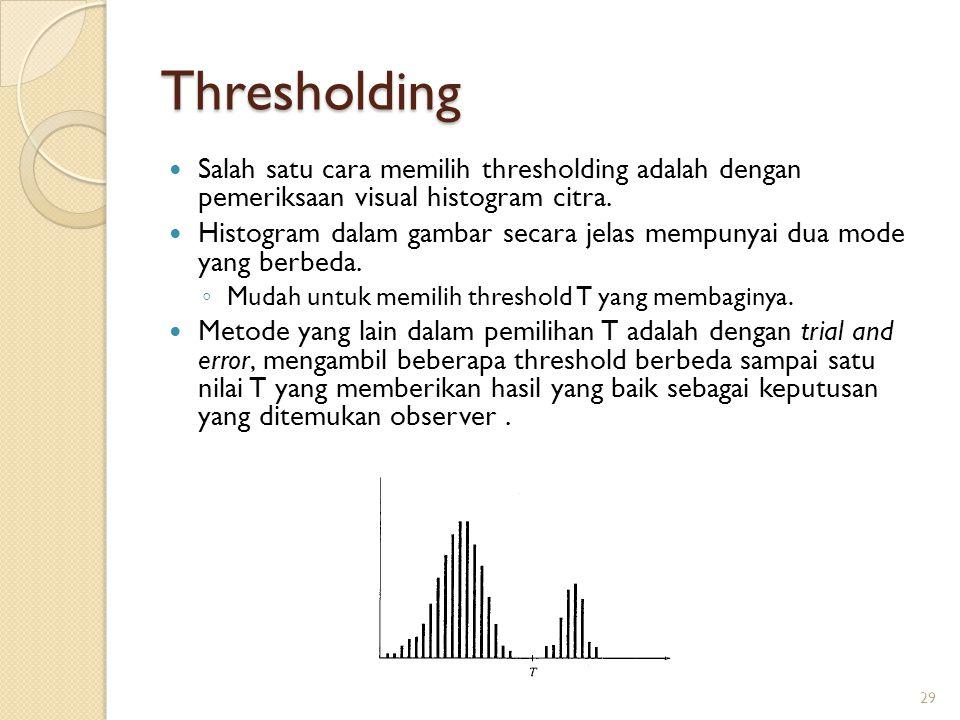 Thresholding Salah satu cara memilih thresholding adalah dengan pemeriksaan visual histogram citra.