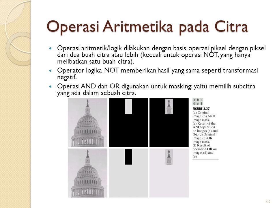 Operasi Aritmetika pada Citra