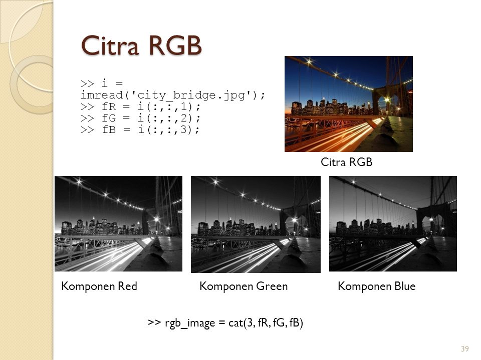 Citra RGB >> i = imread( city_bridge.jpg );