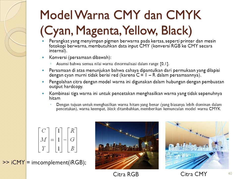 Model Warna CMY dan CMYK (Cyan, Magenta, Yellow, Black)