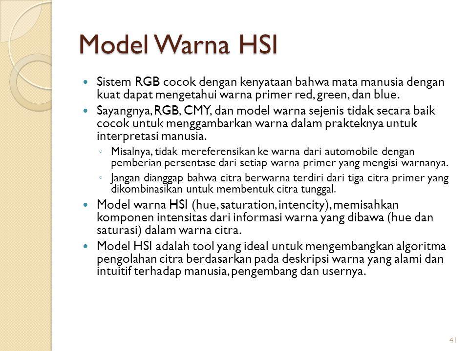 Model Warna HSI Sistem RGB cocok dengan kenyataan bahwa mata manusia dengan kuat dapat mengetahui warna primer red, green, dan blue.