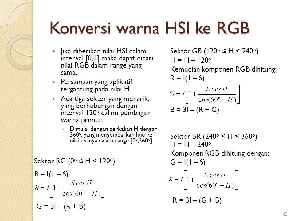 Konversi warna HSI ke RGB