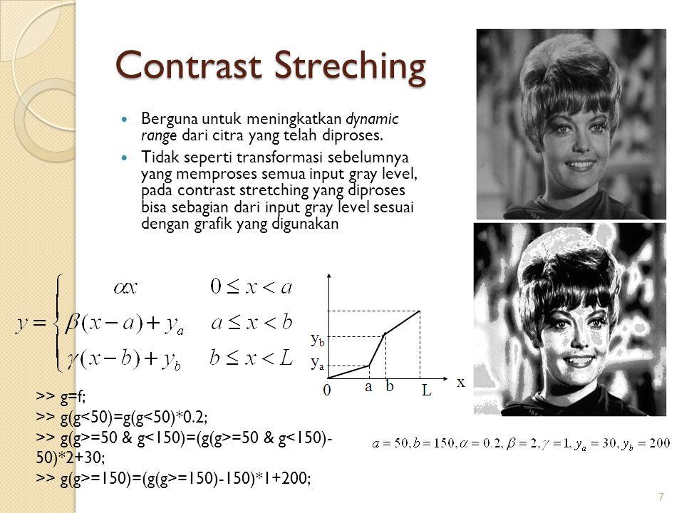 Contrast Streching Berguna untuk meningkatkan dynamic range dari citra yang telah diproses.