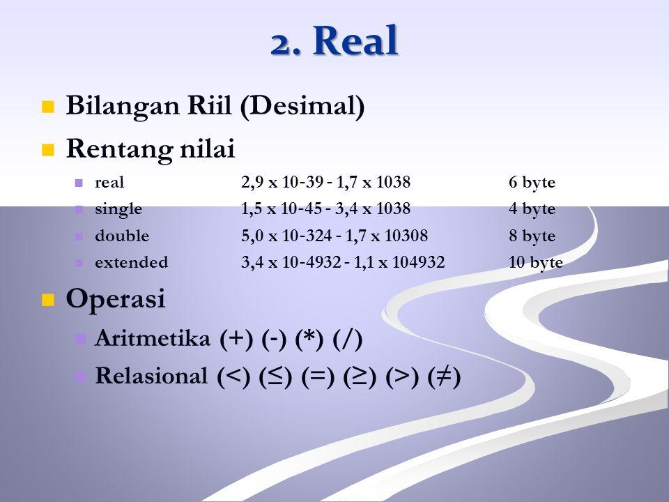 2. Real Bilangan Riil (Desimal) Rentang nilai Operasi