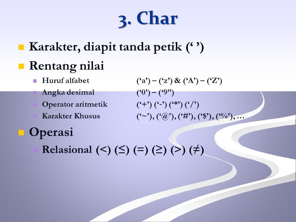 3. Char Karakter, diapit tanda petik (' ') Rentang nilai Operasi