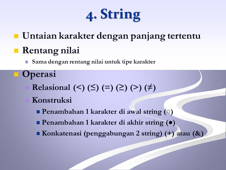 4. String Untaian karakter dengan panjang tertentu Rentang nilai
