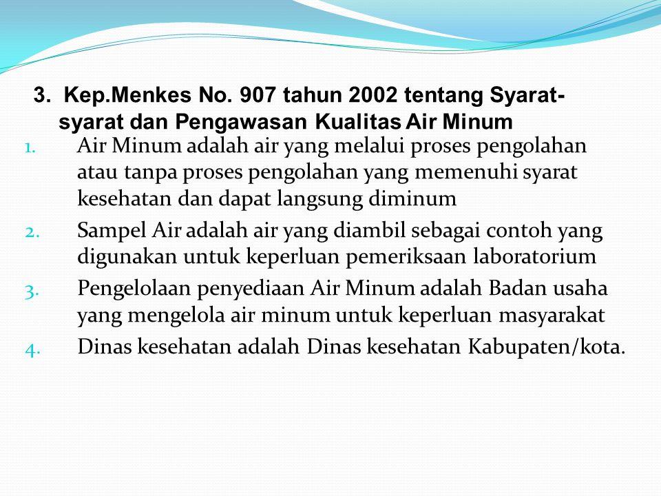 3. Kep.Menkes No. 907 tahun 2002 tentang Syarat- syarat dan Pengawasan Kualitas Air Minum