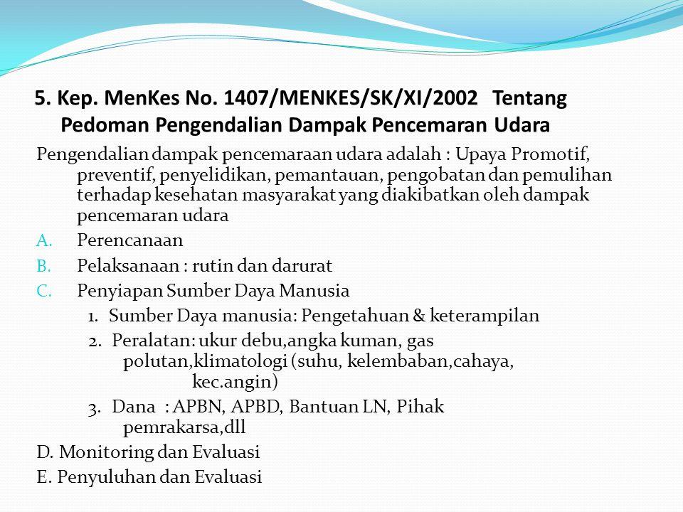 5. Kep. MenKes No. 1407/MENKES/SK/XI/2002 Tentang Pedoman Pengendalian Dampak Pencemaran Udara