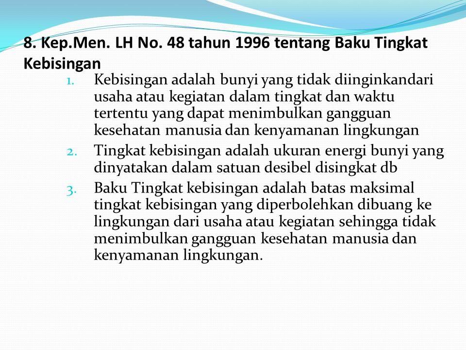 8. Kep.Men. LH No. 48 tahun 1996 tentang Baku Tingkat Kebisingan