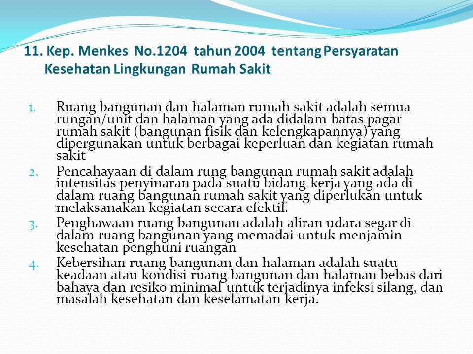 11. Kep. Menkes No.1204 tahun 2004 tentang Persyaratan Kesehatan Lingkungan Rumah Sakit