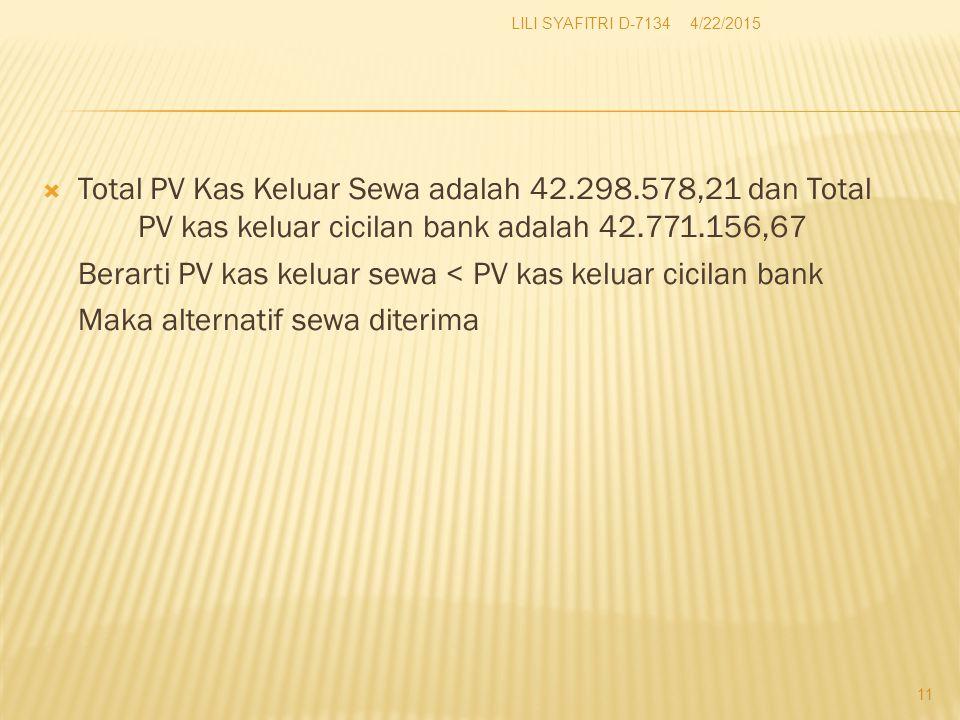 Berarti PV kas keluar sewa < PV kas keluar cicilan bank