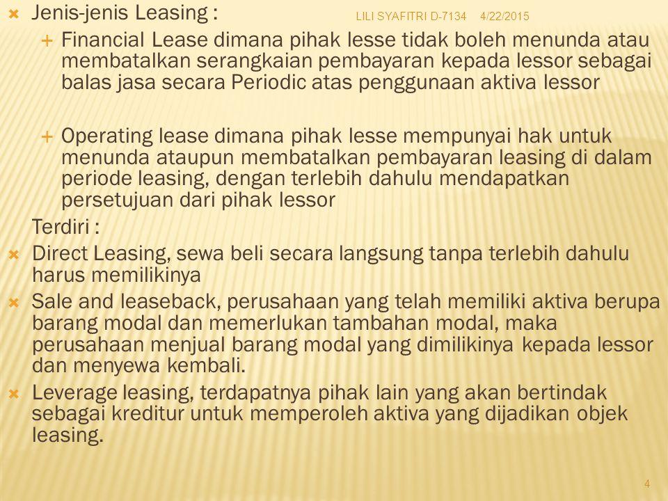 Jenis-jenis Leasing :