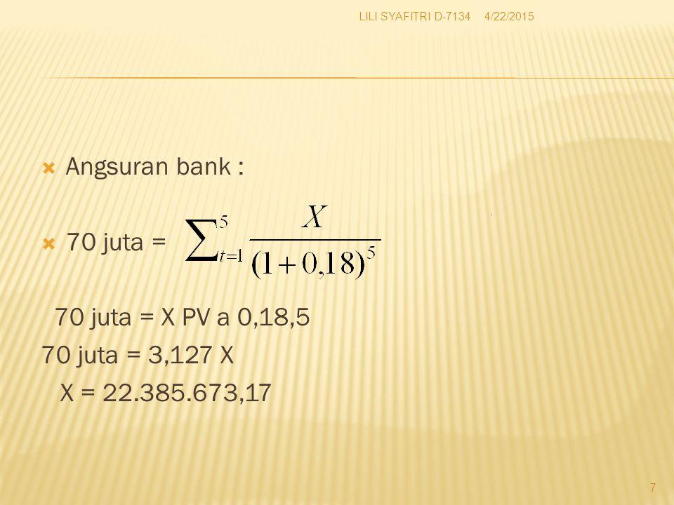 Angsuran bank : 70 juta = 70 juta = X PV a 0,18,5 70 juta = 3,127 X