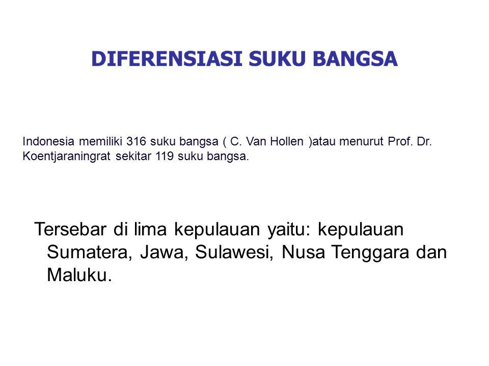Indonesia memiliki 316 suku bangsa ( C. Van Hollen )atau menurut Prof