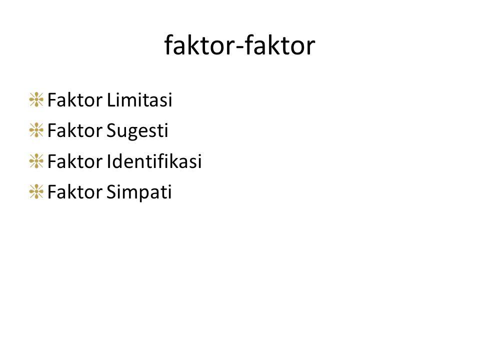 faktor-faktor Faktor Limitasi Faktor Sugesti Faktor Identifikasi
