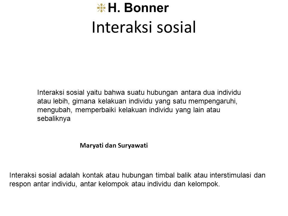 Interaksi sosial H. Bonner